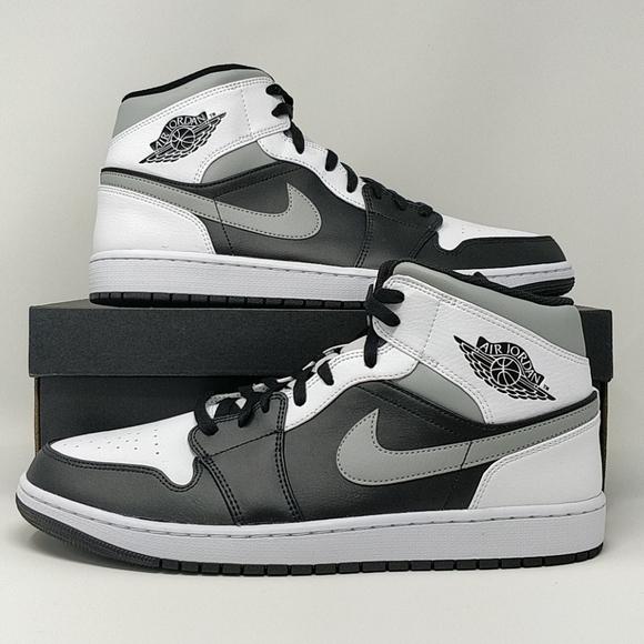 Nike Air Jordan Retro I 1 Mid White Shadow Black